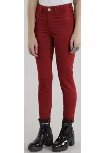 Calça Super Skinny Energy Jeans Em Algodão + Sustentável Vermelha