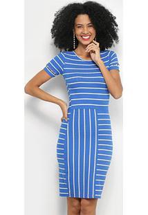 Vestido Tubinho Lecimar Canelado Manga Curta Listrado - Feminino-Azul