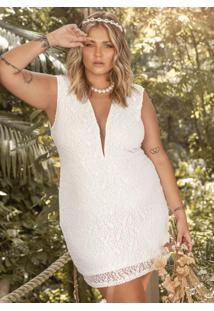 Vestido Curto Branco Em Renda Com Decote Em Tule