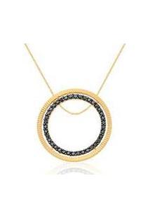 Pingente Ouro Amarelo E Diamantes Negros