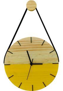 Relógio De Parede Adnet Minimalista Amarelo Com Alça + Pendurador