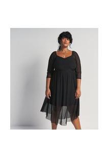 Vestido Midi Em Tule Com Textura Poá Curve & Plus Size | Ashua Curve E Plus Size | Preto | G