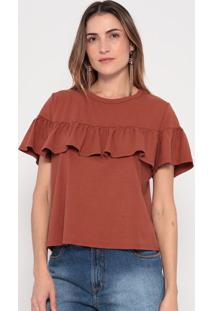 Blusa Com Babados - Marrom- My Favorite Thingsmy Favorite Things