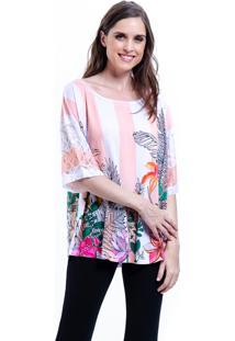 Blusa 101 Resort Wear Tunica Estampada Listrada Floral Rosa