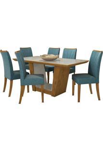 Sala De Jantar Apogeu Com 6 Cadeiras Rovere Naturale
