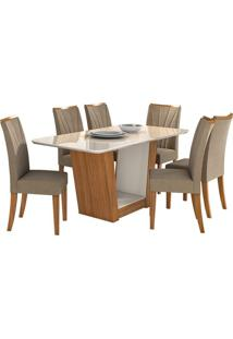 Sala De Jantar Apogeu Com 6 Cadeiras Sued Animale Bege Rovere Naturale