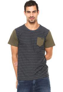 Camiseta Oakley Reta Estampada Cinza/Verde