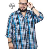 9316c7c2a Camisa Plus Size Bigshirts Manga Longa Xadrez - Preta Azul