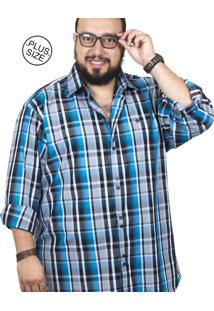 Camisa Plus Size Bigshirts Manga Longa Xadrez - Preta/Azul