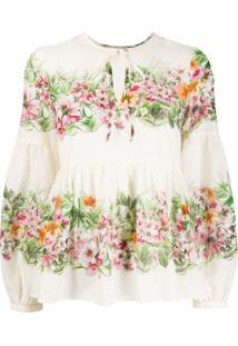 Twin-Set Blusa Com Estampa Floral - Neutro