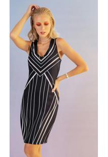 Vestido Com Estampa Geométrica Preto