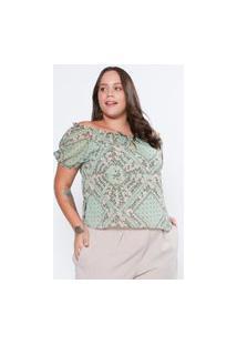 Blusa Almaria Plus Size Tal Qual Ombro A Ombro Chiffon Estampado Celeste Verde