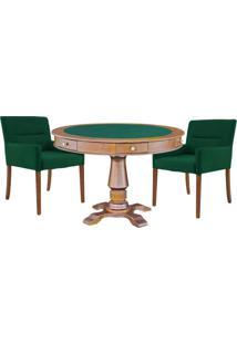 Mesa De Jogos Carteado Victoria Redonda Tampo Reversível Amêndoa Com Kit 2 Cadeiras Vicenza Verde - Gran Belo