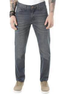 Calça Jeans Reta Em Algodão + Sustentável Azul Médio