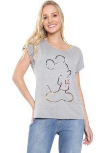 Blusa Cativa Disney Mickey Paetê Cinza