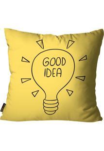 Capa Para Almofada Premium Cetim Mdecore Good Idea Amarela 45X45Cm