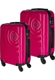 Conjunto De Malas De Viagem Em Abs Star Yins Cadeado Embutido Rodas Giro 360º 2 Peças P/Pp Rosa Rosa