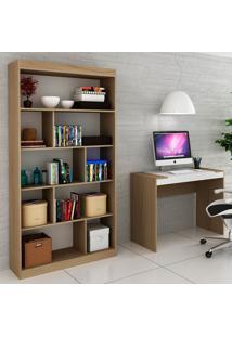 Escrivaninha E Estante Para Escritório-Ho-2953-Hecol - Avela / Branco