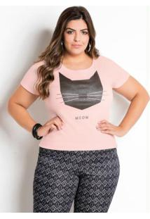 T-Shirt Marguerite Rosa Com Estampa Plus Size