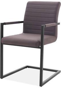 Cadeira Ferrara Marrom Com Braco Base Aco Preta - 59512 - Sun House