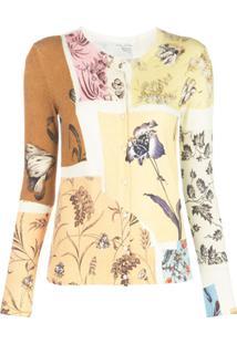 Oscar De La Renta Cardigan Com Patchwork Floral - Amarelo