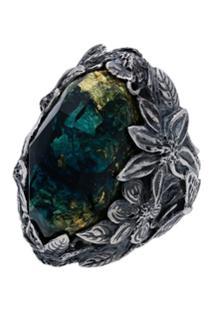 Lyly Erlandsson Blue Winter Leaf Engraved Stone Ring - Azul