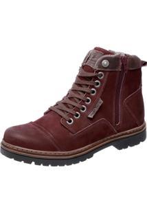 Bota Coturno Em Couro Mega Boots 6017 Vinho