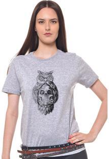 Camiseta Feminina Joss Caveira Coruja Cinza Mescla