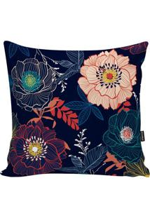 Capa Para Almofada Flowers- Azul Marinho & Vermelha-Stm Home