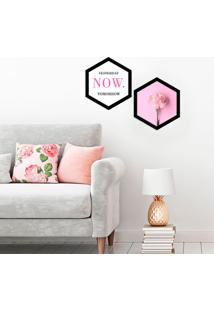 Kit 2 Quadros Com Moldura Hexagonal Now Pink