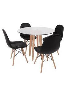 Conjunto Mesa De Jantar Em Vidro 90Cm Com Base Vértice + 4 Cadeiras Botonê - Preto