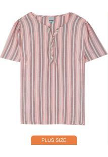 Blusa Rosa Listrada Com Peitilho Plus