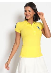 Polo Lisa Em Piqu㪠Com Bordado- Amarela & Azul Marinhous Polo