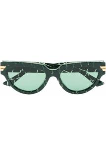 Bottega Veneta Eyewear Óculos De Sol Gatinho Xadrez Verde