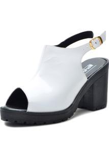 Sandália Salto Grosso Branca Word Boot