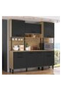 Armário De Cozinha Compacta Maori 7 Portas Casamia Mel E Grafite