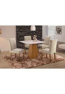 Conjunto De Mesa De Jantar Com 4 Cadeiras E Tampo De Madeira Maciça Turquia Ii Suede Creme E Off White