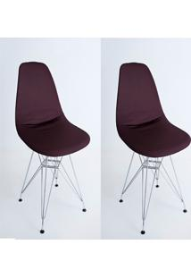 Kit Com 02 Capas Para Cadeira Charles Eames Eiffel Wood Marrom - Kanui
