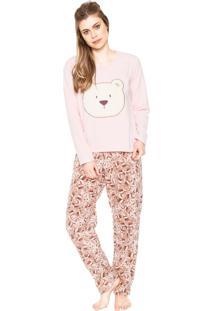 Pijama Pzama Urso Rosa/Bege