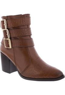 Ankle Boots Gabriela Salto Grosso Textura Croco Couro Marrom