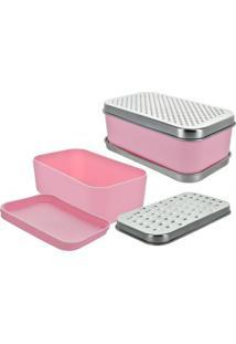Ralador Retangular Com Dispenser Rosa Basic Kitchen