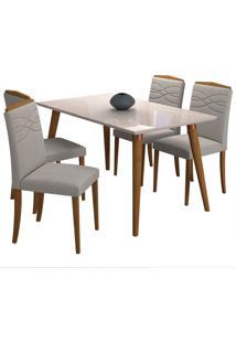 Conjunto De 4 Cadeiras Para Sala De Jantar 130X80 Adele/Vanessa-Cimol - Madeira / Offwhite / Aspen