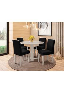 Conjunto De Mesa De Jantar Com Tampo De Vidro Isabela E 4 Cadeiras Amanda Veludo Off White E Preto