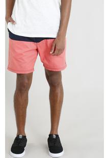 Bermuda Masculina Bicolor Com Cordão Coral
