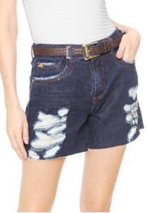 Bermuda Jeans Lança Perfume Comfort Azul-Marinho