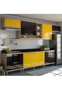 Cozinha Completa Sicília 10 Portas 5 Gavetas Argila/Preto/Amarelo - Multimóveis