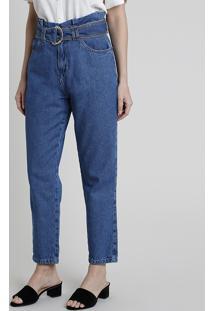 Calça Jeans Feminina Mom Clochard Cintura Super Alta Com Cinto Azul Escuro