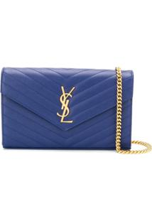 Saint Laurent Monogram Quilted Shoulder Bag - Azul