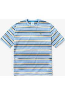 Camiseta Lacoste Live Masculina - Masculino-Azul Claro+Branco