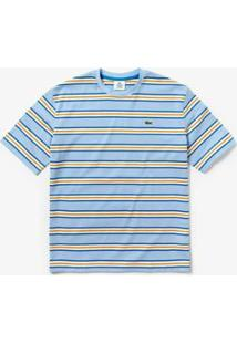Camiseta Lacoste Live Listrada Masculina - Masculino-Azul Claro+Branco
